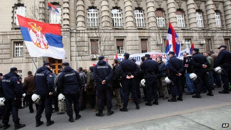 Protesters outside the Serb government building in Belgrade had called for the deal to be rejected