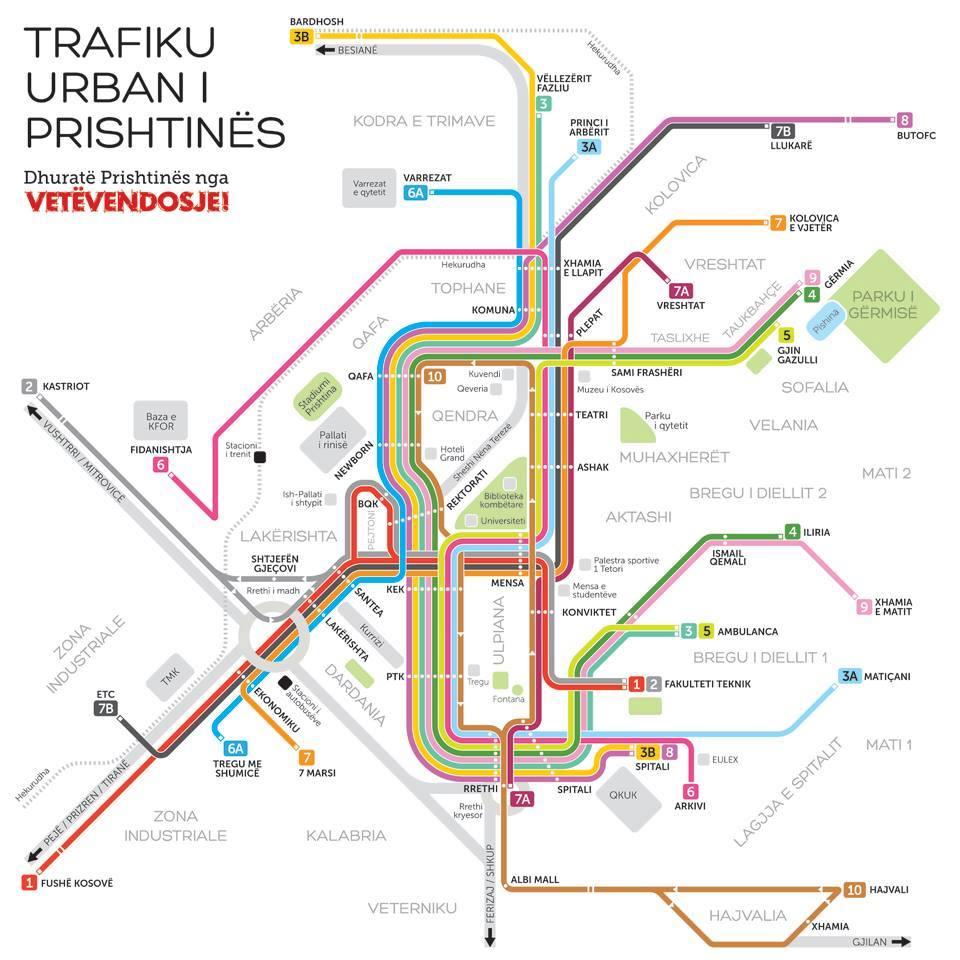 Bus Routes Of Prishtina Friends Of Kosovo - pristina map