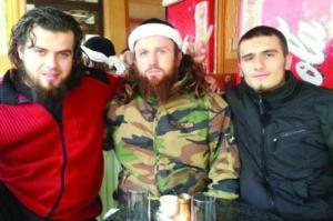 Bosnians Bajro Ikanović i Mirza Ganić posing in Syria