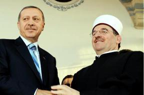 Mufti Naim Ternava (right, with Turkey Prime Minister Recep Tayyip Erdogan in 2010), will lead the Kosovo Islamic Community for another five years. [AFP]