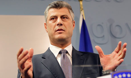 Kosovo's Prime Minister Hashim Thaci identified in secret Nato reports as having involvement in criminal underworld. Photograph: Valdrin Xhemaj/EPA