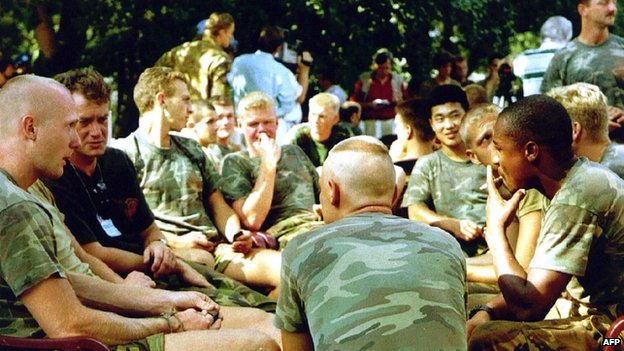 A file photo taken on 16 July 1995 shows Dutch soldiers of the Dutchbat troops in Potocari, Bosnia.  A battalion of Dutch peacekeepers was stationed at Srebrenica in 1995