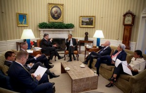 Petro Porshenko during his meeting with Barack Obama.