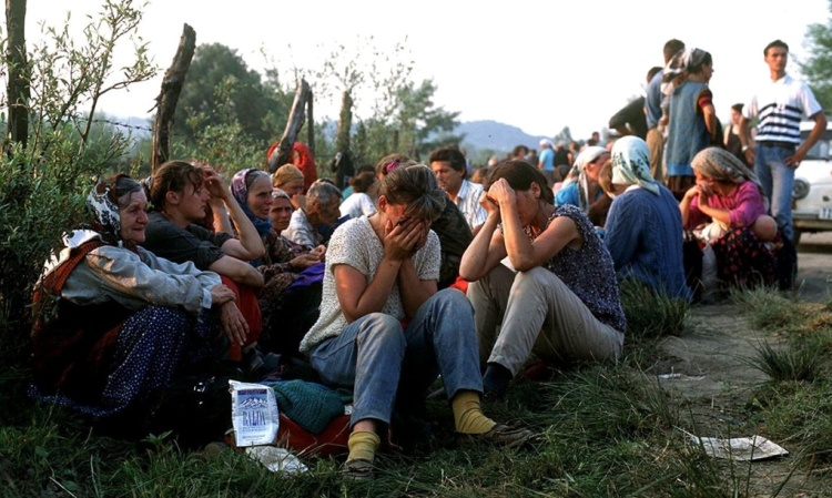 Muslim refugees on runway of Tuzla airport, Bosnia, fleeing Srebrenica in 1995. Facebook Twitter Pinterest Muslim refugees on runway of Tuzla airport, Bosnia, fleeing Srebrenica in 1995. Photograph: Sipa Press/Rex Features
