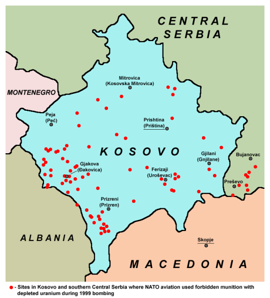 Areas where Depleted Uranium was dropped by NATO